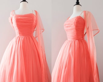 Vintage 1950s Coral Chiffon Prom Dress // 1950s Gown