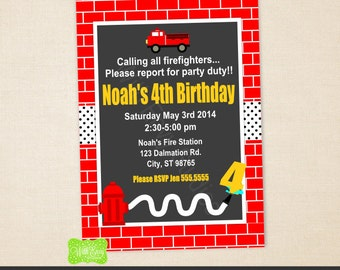 Firetruck Party Invitation - Red Firetruck Birthday Party Invitation - Fireman Invitation - Firetruck Thank You Card - Digital and Printed