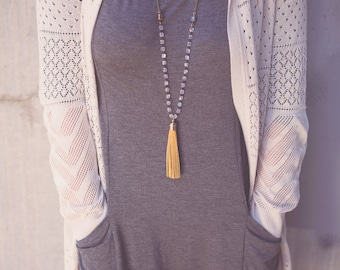 Long Necklaces Leather Tassel Mustard and Gray