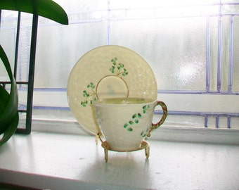 Vintage Irish Belleek Cup and Saucer Second Green Mark 1960s
