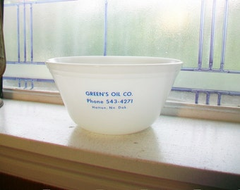 Advertising Bowl Milk Glass Green's Oil Co Hatton ND Vintage 1960s