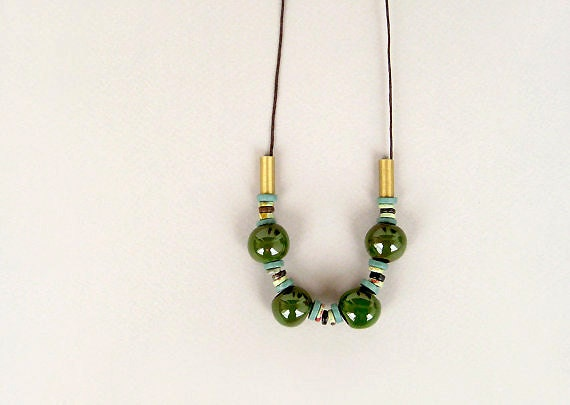 Green Ceramic  Necklace, Forest Green Necklace