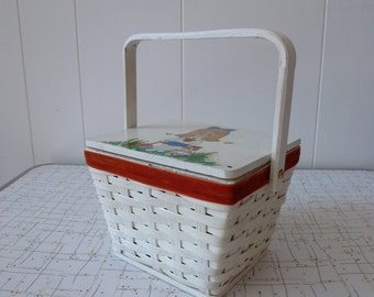 70's Basket Bag Hand Painted Back to School Woven Box Purse