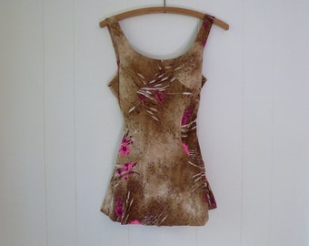 60's Pinup Swimsuit Skirted Cocoa Pink Floral Bathing Suit One Piece Swim Suit M