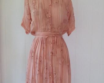 70's Emmanuelle Khanh Dress Sheer 30's Style Silk Crepe Rose Pink Crochet Button Shirtdress XS