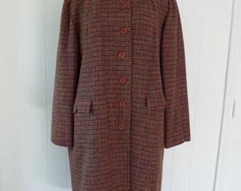 60's Tartan Plaid Coat Scottish Harris Tweed Hand Woven in Scotland Wool Overcoat L XL
