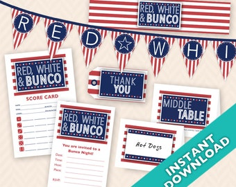 Instant Download Printable Bunco Party Decoration Set - Red, White & Bunco (a.k.a. Bunko, score card, score sheet)