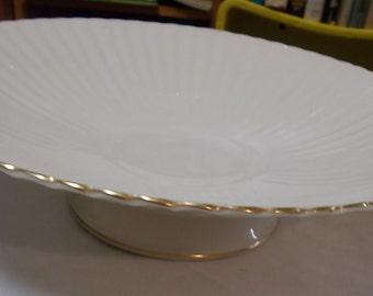 Lenox Console Bowl Gold Trim Pedestal Centerpiece Bowl Fluted Body Bowl Ribbed Fruit Bowl