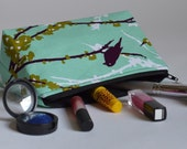 Handmade Unique Birds and Branches Large Makeup Bag // Cosmetic Pouch