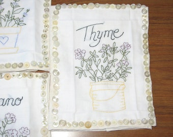 Free Shipping OOAK Set of Five Herb Towels with Button Frames