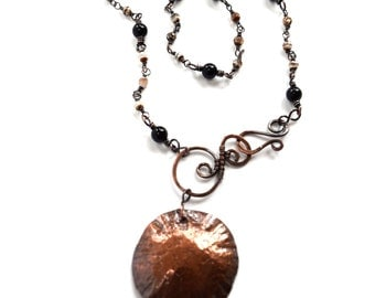 Tribal Necklace with Disc Pendant and Wire Wrapped Agate and Onyx Front Closure