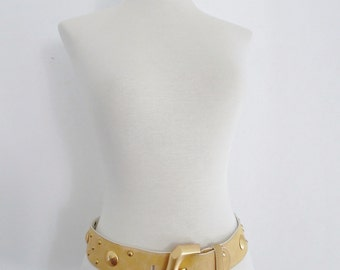 ESCADA . Apricot Studs . Peach Suede Leather Belt 80s Studded Frosted Metal Chunky Large Big Buckle Military M L medium large