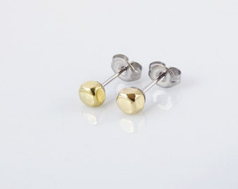 Tiny minimalist studs. Golden cube small post earrings. Gold tone brass dainty delicate jewelry.