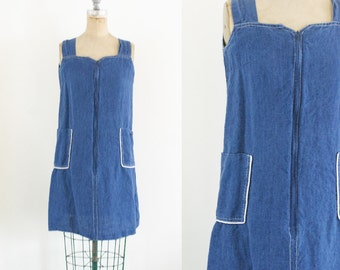Vintage Denim Jumper Dress 90s Denim Dress 80s Denim Dress 70s Denim Dress Jean Jumper Denim Dress Jean Dress Linen Jumper Si