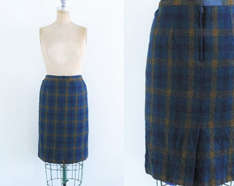 Vintage 1970s Blue Plaid Skirt Wool Plaid Skirt Wool Plaid Pencil Skirt Wool Pencil Skirt Blue Pencil Skirt 70s Plaid Skirt M