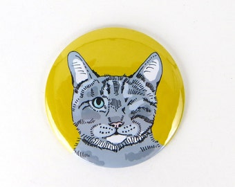 Grey one eyed cat magnet, grey tabby cat magnet, one-eyed cat fridge magnet