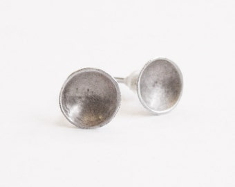 sterling silver bowl earrings, minimalist post stud, architect gift, zen gift, sport jewelry, recycled silver earrings, ecological jewelry