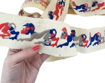 Vintage Woven Burlap Trim Year of the Monkey 1.5+ Yards Embroidered Trimming Sewing Supply Ribbon Trim 3 Inches Wide Red Blue Sewing Notions