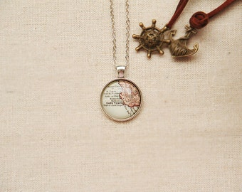 Vintage Map Necklace - Cape Town, South Africa -Vintage Map Series (M011)