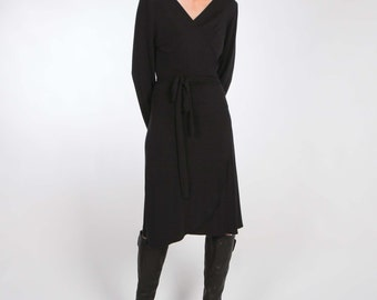 Caviar Black Wrap Jersey Dress with Long or 3/4 Sleeves