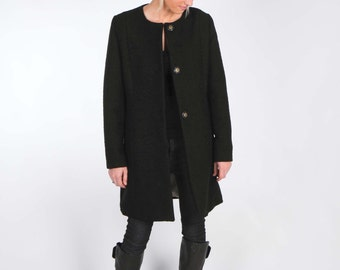 Black Wool Coat with Three Large Snaps Closure and Side Pockets - Lined