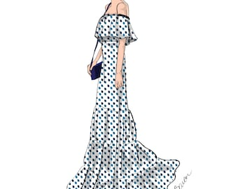 Fashion Illustration, Summer Date Night, Girl in off the shoulder maxi dress, Wall Art