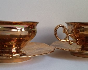 Hutschenreuther Sylvia Gold Painted Tea cups