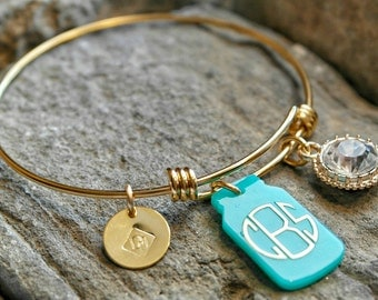 Mason Jar Charm Bracelet - Monogram Bracelet - Monogrammed Acrylic Mason Jar Bracelet - Southern Girl Bracelet - Sister Gift - Southern Gift