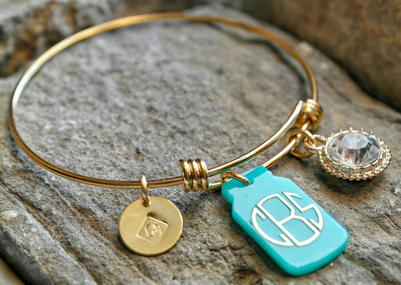 jar charm bracelet monogram bracelet monogrammed