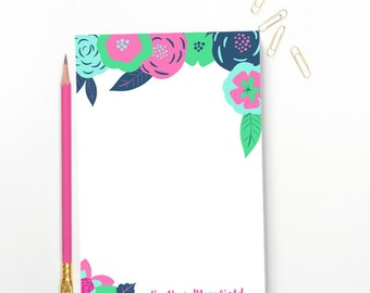 Floral Stationary Notepad -- Personalized Notepad Gift for Her