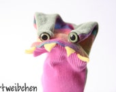 hand puppet monster made of reused clothes