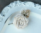 Rustic Cream Fabric Rosette - Wedding Hair Accessory - Natural Burlap Leaf, Ivory Lace Leaf, Soft White Wildflowers