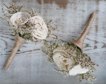 Rustic Burlap Toss Bouquet // Mini Bouquet, Natural Bridal Flowers, Sola Wood Rose, Burlap Flower, Rustic Flowers, Bridal Flowers, Wedding