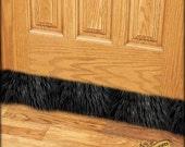 Faux Fur Draft Stopper / Door or Window Snake / Old House /  Luxury Fur / Dust Guard / Black Bear Shag Fur / 3', 4' or 5'
