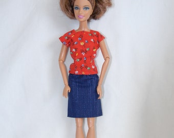 Barbie Clothes Tailor Made by Tunafairy - Red Floral Shirt and Navy Skirt for Barbie, FR, or Similar