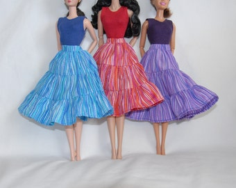 Barbie Clothes Tailor Made by Tunafairy - 3 Tiered Ruffled Skirt in a choice of colors for Barbie, FR, or Similar