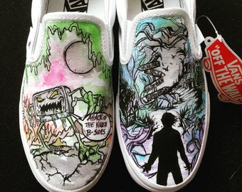 Custom Made Adtr (A Day To Remember) Music Album themed Shoes ARTWORK and SHOES INCLUDED