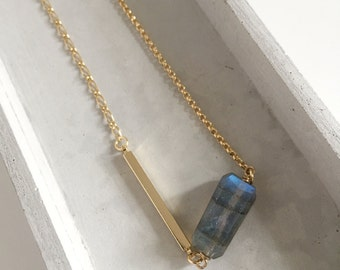 Irregular Labradorite on Mix Gold Necklace