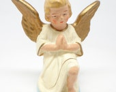 1950's German Praying Angel, Paper Mache, Hand Painted for Christmas Nativity or Putz