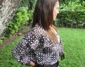 Womens Short Kimono Jacket In Jogjakarta Batik With Fringe Hem - Ava - Ethical Clothing