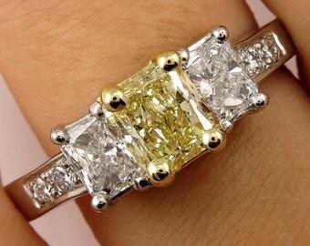 Estate GIA 2.52ct Natural Fancy Yellow Radiant 3 Stone Diamond Engagement Wedding Ring