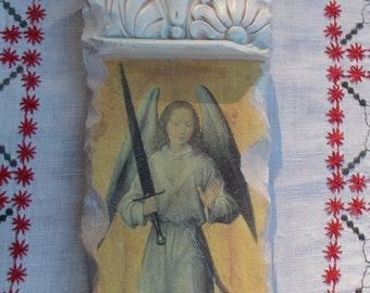 ANGEL of Protection  -  Hand painted on Carved Stone  -  Religious Icon - Christian Art