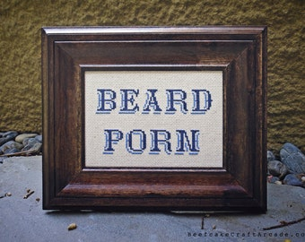 Beard Porn - framed cross stitch
