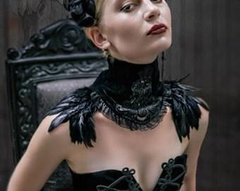 Black gothic choker feathered choker victorian choker Gothic Choker