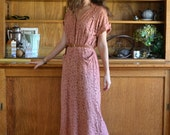 Lace 40's Day Dress / Dusty Rose Pockets