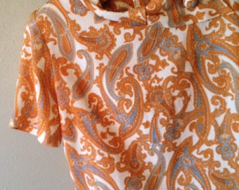1960s Paisley Blouse in Goldenrod and Slate Blue