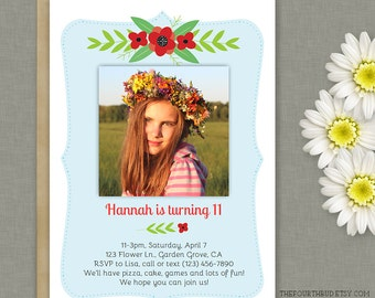 5x7 Floral Party Invitation Template in PDF / Printable / DIY / Instant Download / Adobe Reader Required