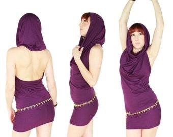 Cowl Hoodie Halter Dress