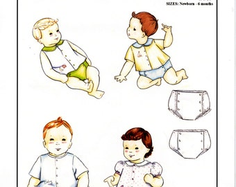 Infant Shirt / Diaper Cover / Front Buttons / Peter Pan Collar / Boy's or Girl's / by Creations by Michie #109