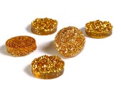 12mm Gold round resin cabochon - Faux druzy cabochon - Faux drusy cabochon - Textured cabochon - Glitter cabochon (1653) -Flat rate shipping